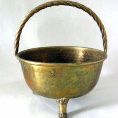 Antigüedades: CESTA DE BRONCE CON ASAS * CENTRO DE MESA. Lote 39699075