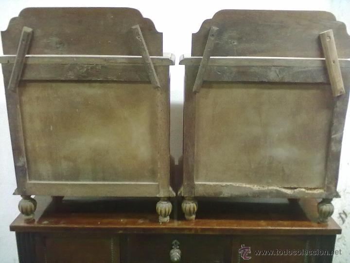 Antigüedades: PAREJA DE MESILLAS DE NOCHE ROBLE ART-DECO PARA RESTAURAR - Foto 5 - 39679041