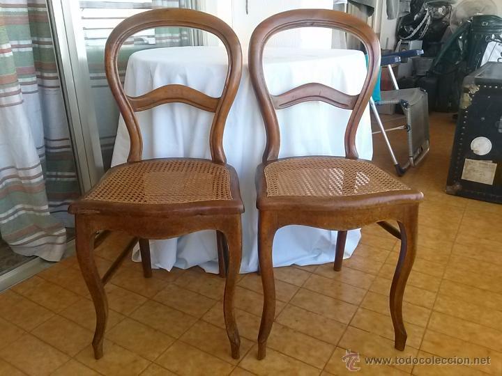 preciosa y antigua pareja de sillas isabelinas, - Comprar Sillas ...