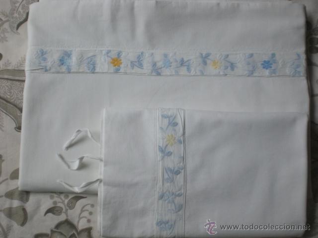 Antigüedades: SABANA de algodón con cubre-costuras y funda de almohada - Foto 2 - 39702789