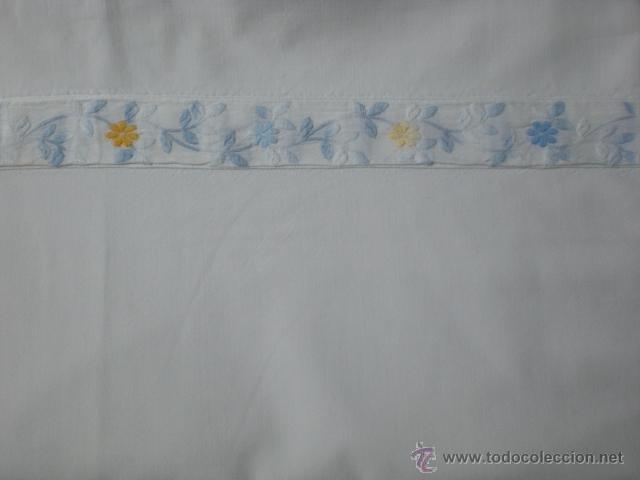 Antigüedades: SABANA de algodón con cubre-costuras y funda de almohada - Foto 3 - 39702789
