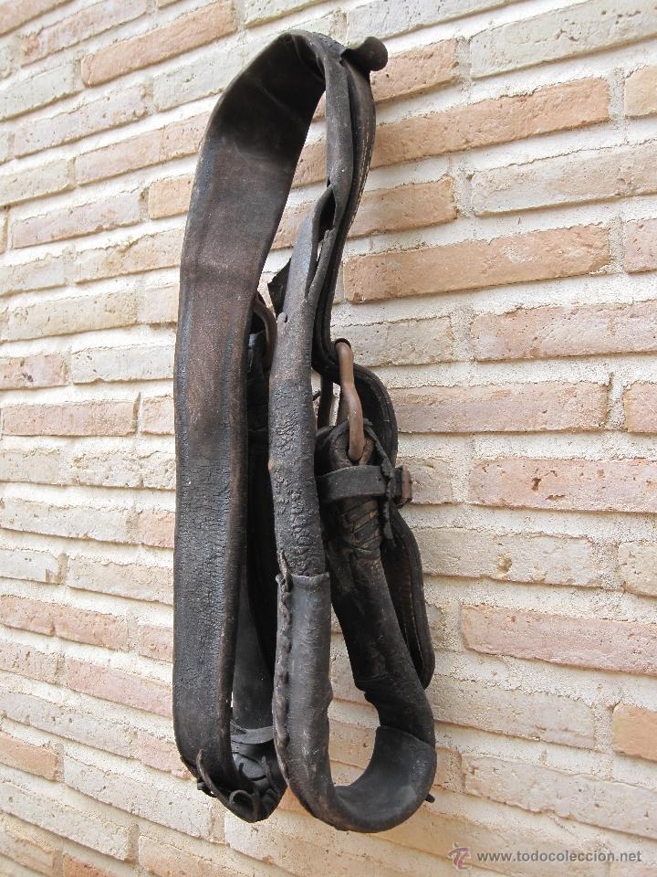 Antigüedades: SUFRA O CORREAJE ANTIGUO DE CUERO Y HEBILLAS METALICAS. ETNOGRAFIA. - Foto 10 - 39707370