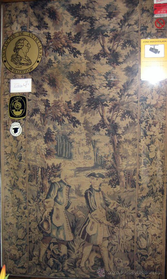 TAPIZ DE FINALES DEL S. XIX CON ESCENA DE CAZA (Antigüedades - Hogar y Decoración - Tapices Antiguos)