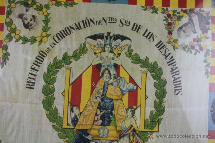 Antigüedades: K1-008.PAÑUELO EN SEDA. RECUERDO DE LA CORONACION DE NTRA. SRA. DE LOS DESAMPARADOS. VALENCIA 1923. - Foto 2 - 39735017