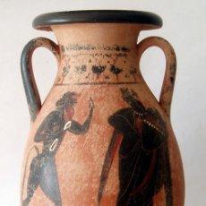 Antigüedades: PELAGA O PELIKE GRIEGA DE FIGURAS NEGRAS ESTILO ÁTICO (REPRODUCCIÓN). Lote 39735445