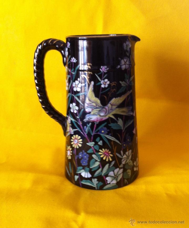 JARRA CERAMICA NEGRA (Antigüedades - Porcelanas y Cerámicas - Inglesa, Bristol y Otros)