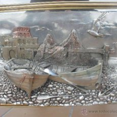 Antigüedades: CUADRO - ESPEJO CON RELIEVE EN PLATA GALVANIZADA. ARG 925. ITALIANO. Lote 39741729