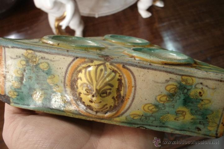 Antigüedades: ANTIGUO ESPECIERO TRICOLOR DEL SIGLO XVIII ORIGINAL DE PORCELANA DE PUENTE DEL ARZOBISPO - Foto 9 - 39728258