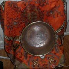 Antigüedades: ANTIGUO CALDERO DE COBRE CON ASAS DE FORJA. Lote 39767092