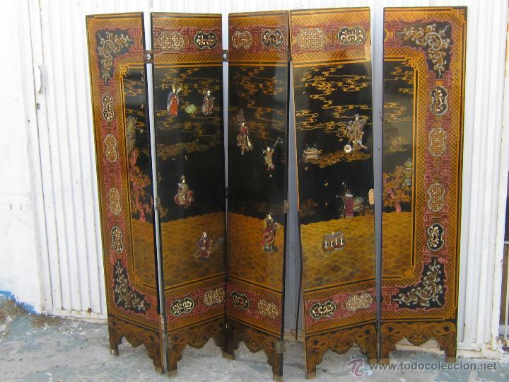Biombo chino en madera contrachapada lacada y comprar muebles auxiliares antiguos en - Biombos chinos antiguos ...