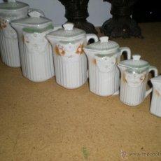 Antigüedades: JUEGO DE 6 JARRAS CON TAPADERA ART DECÓ. Lote 39808051