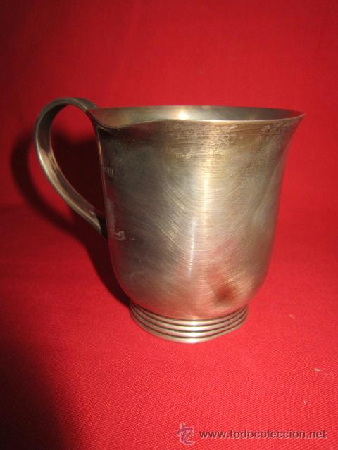 Antigüedades: Preciosa taza en plata con la inicial L. - Foto 2 - 39820226