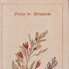 Antigüedades: ESTAMPA CON FLORES SECAS DE JERUSALEN POSADAS SOBRE EL SANTO SEPULCRO (C. 1871). Lote 39821044