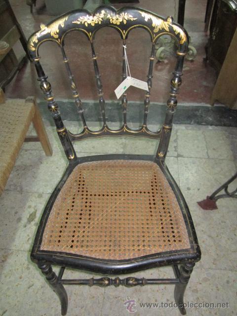 Silla antigua de madera pintada en negro con de comprar sillas antiguas en todocoleccion - Sillas de madera antiguas ...