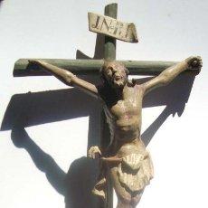 Antigüedades: PRECIOSO CRUCIFIJO DE TALLLA S.XVIII. Lote 39839845