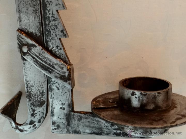 Antigüedades: Antiguo candil de hogar, para pucheros , de forja, de cremallera. - Foto 2 - 39847725