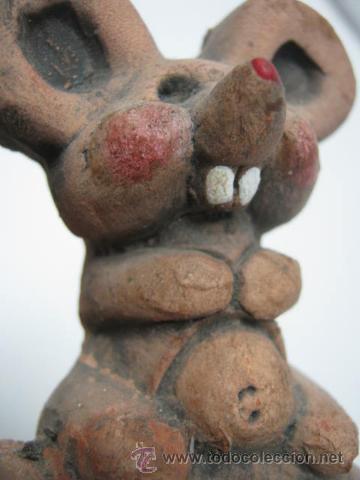 Antigüedades: Bella y original palmatoria candelabro terracota - dos ratoncitos - Foto 3 - 39862621