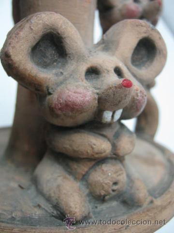 Antigüedades: Bella y original palmatoria candelabro terracota - dos ratoncitos - Foto 4 - 39862621
