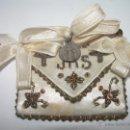 Antigüedades: ANTIGUO Y BONITO ESCAPULARIO DE TELA BORDADO EN HILO DE ORO.. Lote 39864919