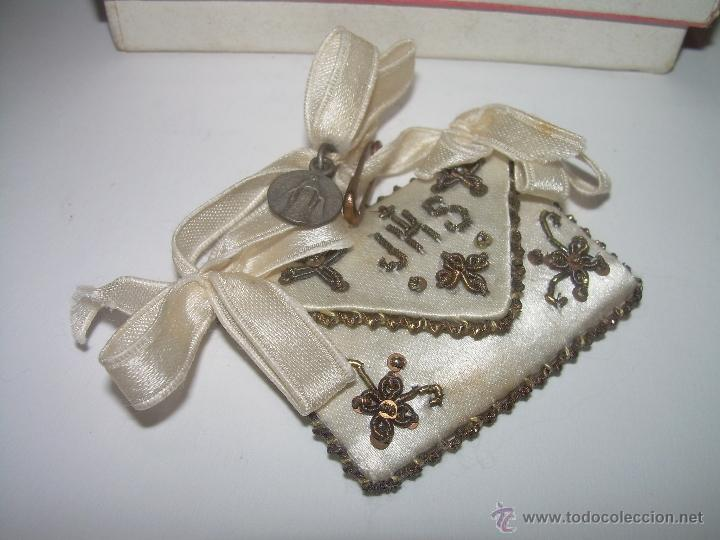 Antigüedades: ANTIGUO Y BONITO ESCAPULARIO DE TELA BORDADO EN HILO DE ORO. - Foto 3 - 39864919