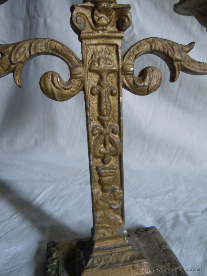 Antigüedades: CANDELABRO DE METAL DE FINALES DEL XIX - Foto 5 - 39901672