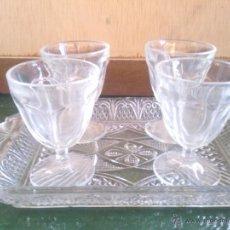 Antigüedades - antigua bandeja de cristal y 4 copitas de licor, de santa lucia o la granja - 39908310