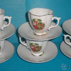 Antigüedades: JUEGO DE CAFE EN PORCELANA RAPA, 6 TAZAS Y 6 PLATOS. Lote 39920091