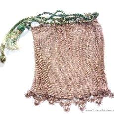 Antigüedades: BOLSITO DE MALLA PLATA - MEDIDAS 12 CM POR 12 CM, PESA UNOS 74,5 GRAMOS. Lote 166806748