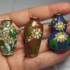 Antigüedades: 3 JARRONES CLOISONNE ANTIGUOS (EN MINIATURA). Lote 39949485