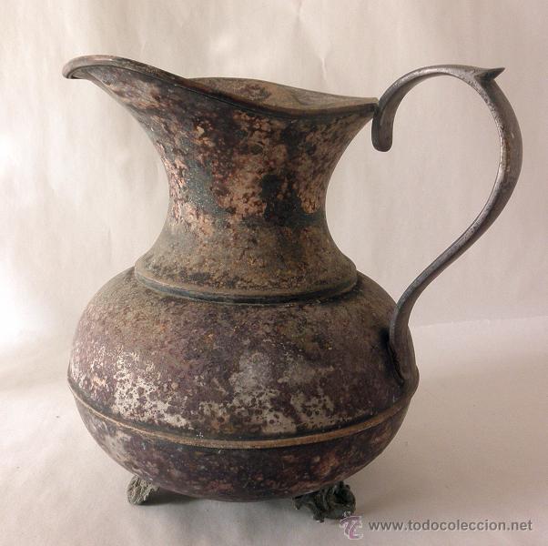 ANTIGUA JARRA RUSTICA METAL (Antigüedades - Hogar y Decoración - Otros)