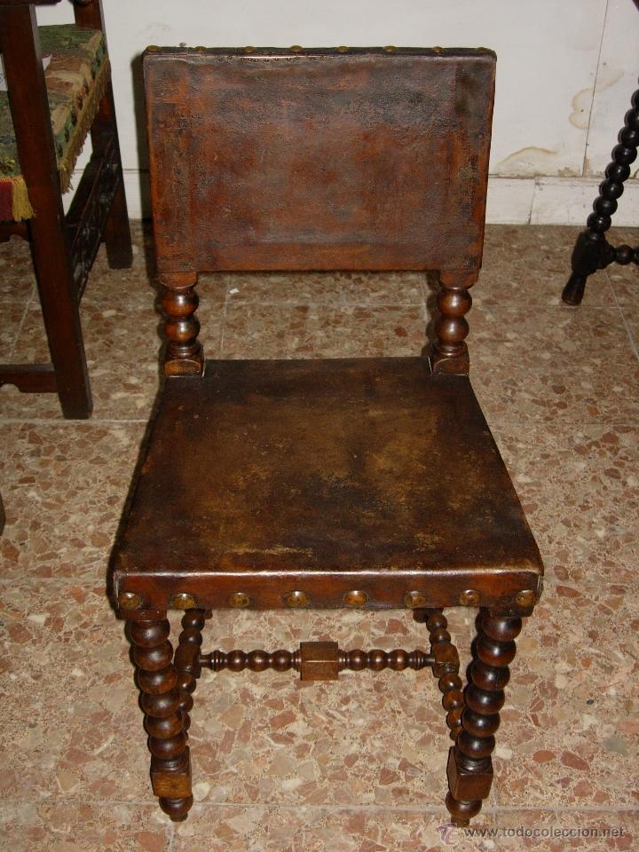 Silla siglo xvii madera nogal tapizado cuero t comprar - Sillas antiguas de madera ...
