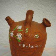 Antigüedades: SINGULAR BOTIJO PINTADO A MANO CON MOTIVOS FLORALES FMDO EULALIA. Lote 40002104