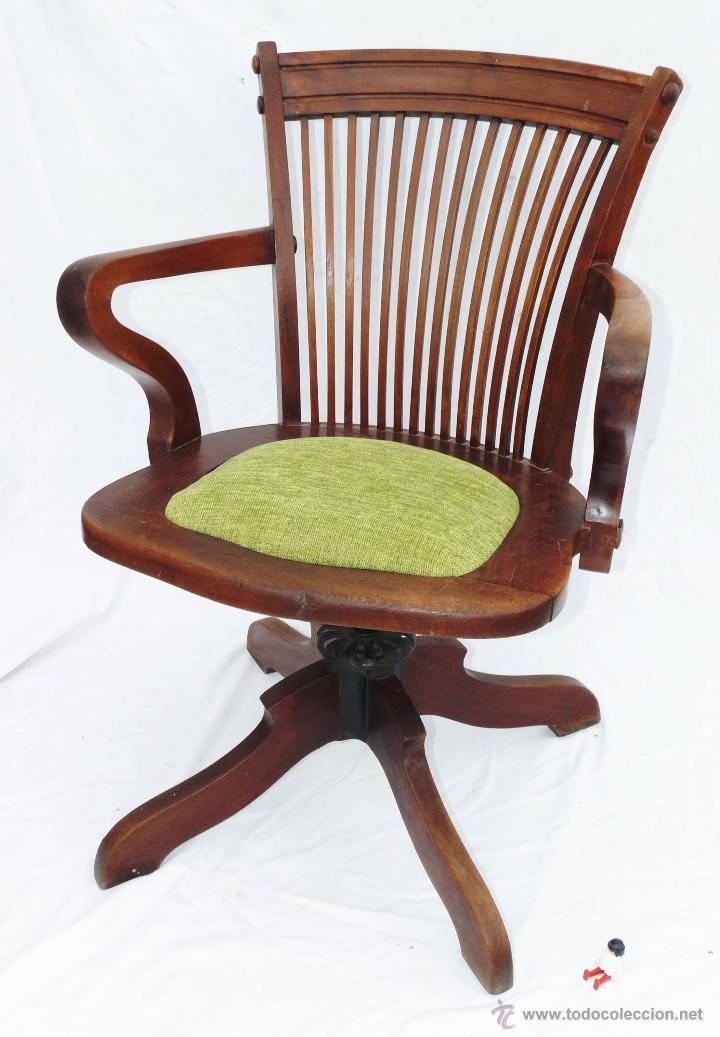 Preciosa silla antigua escritorio despacho gira comprar for Silla giratoria para escritorio