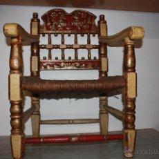 Antigüedades: SILLON SIGLO XVIII ORIGINAL DORADA PANDE ORO TALLA DE MADERA HECHA A MANO TALLADO ****NO 1. Lote 40008723