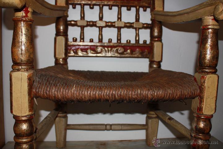 antigedades sillon siglo xviii original dorada pande oro talla de madera hecha a mano tallado