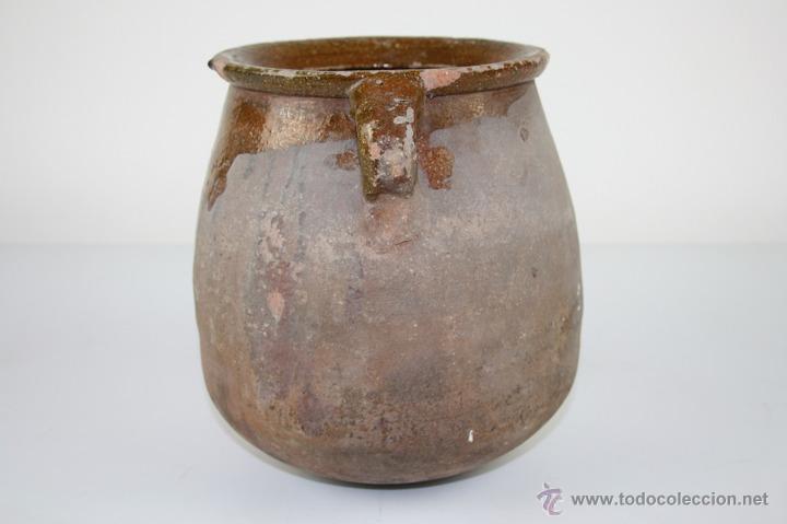 Antigüedades: OLLA POPULAR EN BARRO COCIDO Y ESMALTADA EN SU INTERIOR - SIGLO XIX - Foto 3 - 40026391