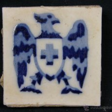 Antigüedades: 1 OLAMBRILLA ESPAÑOLA DECORACIÓN AGUILA CON CRUZ GRIEGA AZUL COBALTO MITAD SIGLO XX. Lote 40027148