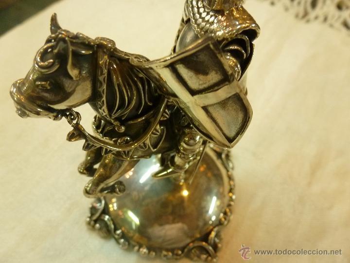 Antigüedades: caja con caballero en plata - Foto 9 - 40031419