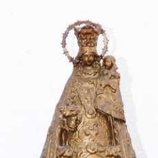Antigüedades: FIGURA ANTIGUA VIRGEN OLOT PASTA MADERA CORONA METAL DESAMPARADOS GEPERUDETA VALENCIA. Lote 40036657