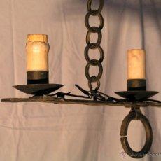 Antigüedades: LAMPARA ESTILO MEDIEVAL DE HIERRO FORJADO.. Lote 40040484