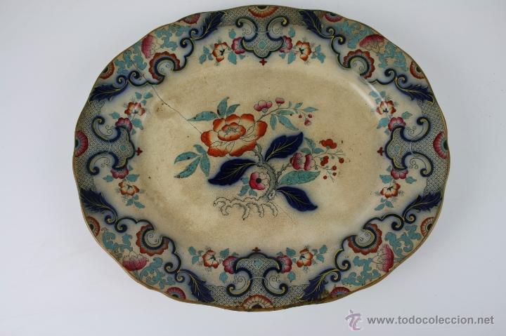 EXCEPCIONAL BANDEJA EN LOZA POLICROMADA A MANO, 1ª MITAD S. XIX, BOYLE Cº , BIRMINGHAM (Antigüedades - Porcelanas y Cerámicas - Inglesa, Bristol y Otros)