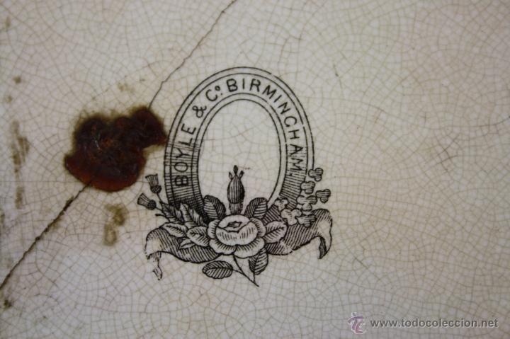 Antigüedades: EXCEPCIONAL BANDEJA EN LOZA POLICROMADA A MANO, 1ª MITAD S. XIX, BOYLE Cº , BIRMINGHAM - Foto 3 - 40044809