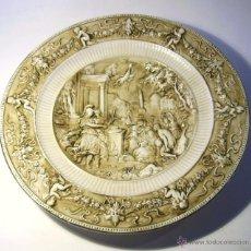 Antiquités: GRAN PLATO EN RELIEVE DE CERAMICA CAPODIMONTE. Lote 108400931