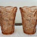 Antigüedades: PAREJA ANTIGUA DE JARRONES EN CRISTAL DE LOS AÑOS '40. Lote 40055206