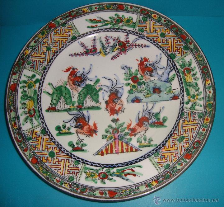 ANTIGUO PLATO EN PORCELANA CHINA GALLOS (Antigüedades - Porcelanas y Cerámicas - China)