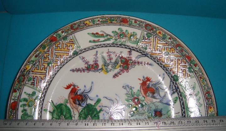 Antigüedades: ANTIGUO PLATO EN PORCELANA CHINA GALLOS - Foto 4 - 40055332