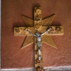 Antigüedades: CRUCIFIJO-CRUZ MADERA LABRADA TALLADA CRISTO METAL .(31X18CM). Lote 40062323
