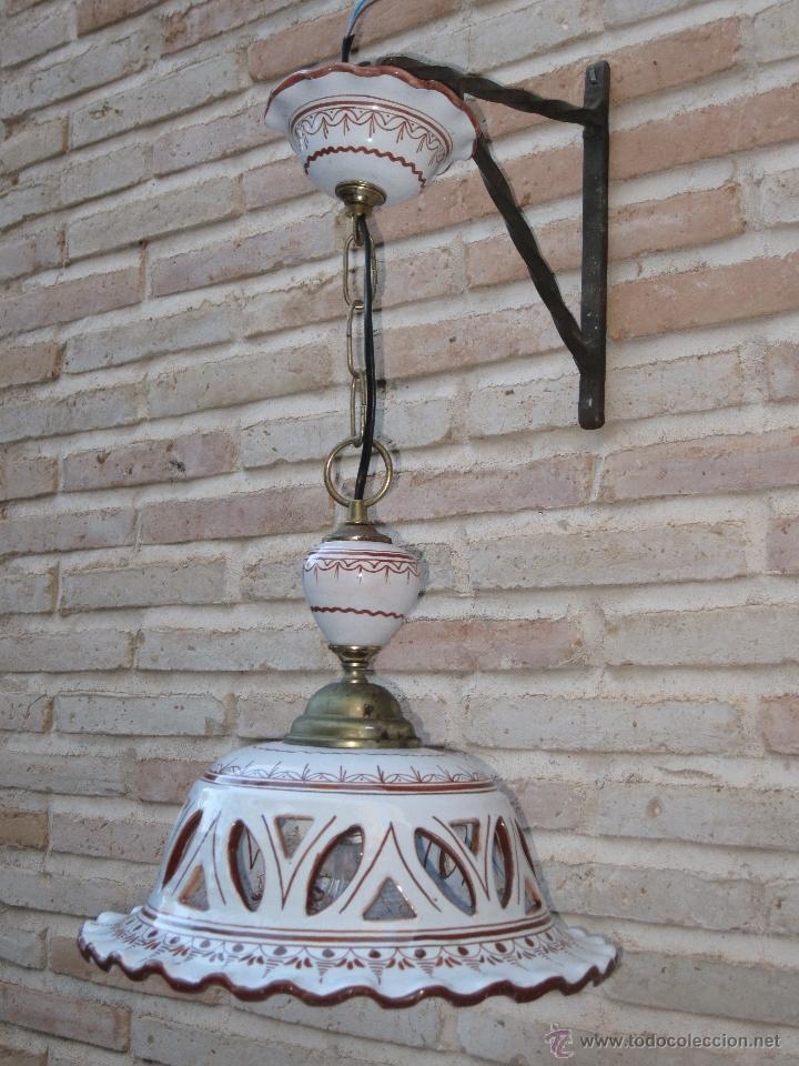 Antigüedades: LAMPARA EN CERAMICA VIDRIADA, DE TALAVERA DE LA REINA (TOLEDO ) FUNCIONANDO. - Foto 3 - 40067322