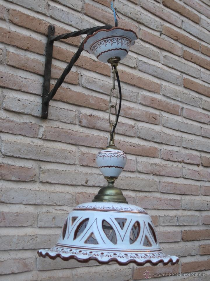 Antigüedades: LAMPARA EN CERAMICA VIDRIADA, DE TALAVERA DE LA REINA (TOLEDO ) FUNCIONANDO. - Foto 4 - 40067322