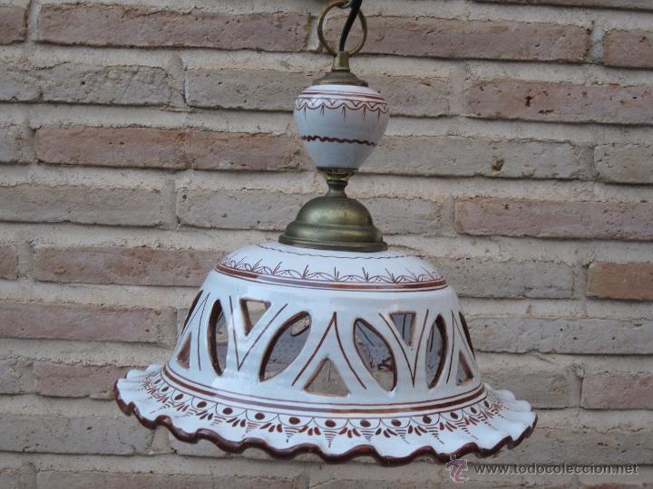 Antigüedades: LAMPARA EN CERAMICA VIDRIADA, DE TALAVERA DE LA REINA (TOLEDO ) FUNCIONANDO. - Foto 5 - 40067322